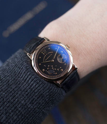 rare limited edition dress wristwatch buy rare A. Lange & Söhne 1815 Moonphase Hommage a Emil Lange 1849-1922 rose gold black dial watch at A Collected Man curated platform of rare and vintage watches