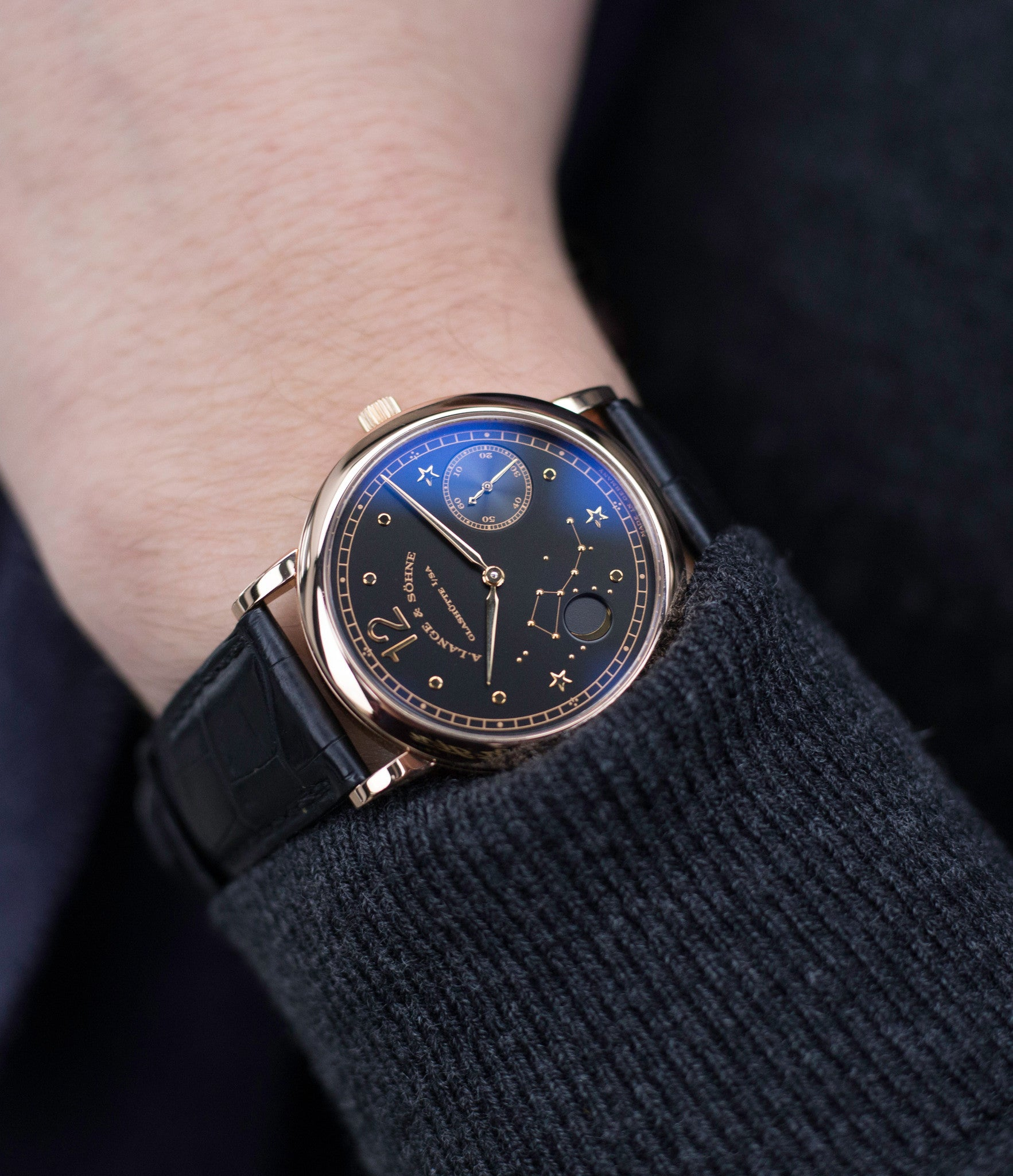 rare dress watch buy rare A. Lange & Söhne 1815 Moonphase Hommage a Emil Lange 1849-1922 rose gold black dial watch at A Collected Man curated platform of rare and vintage watches