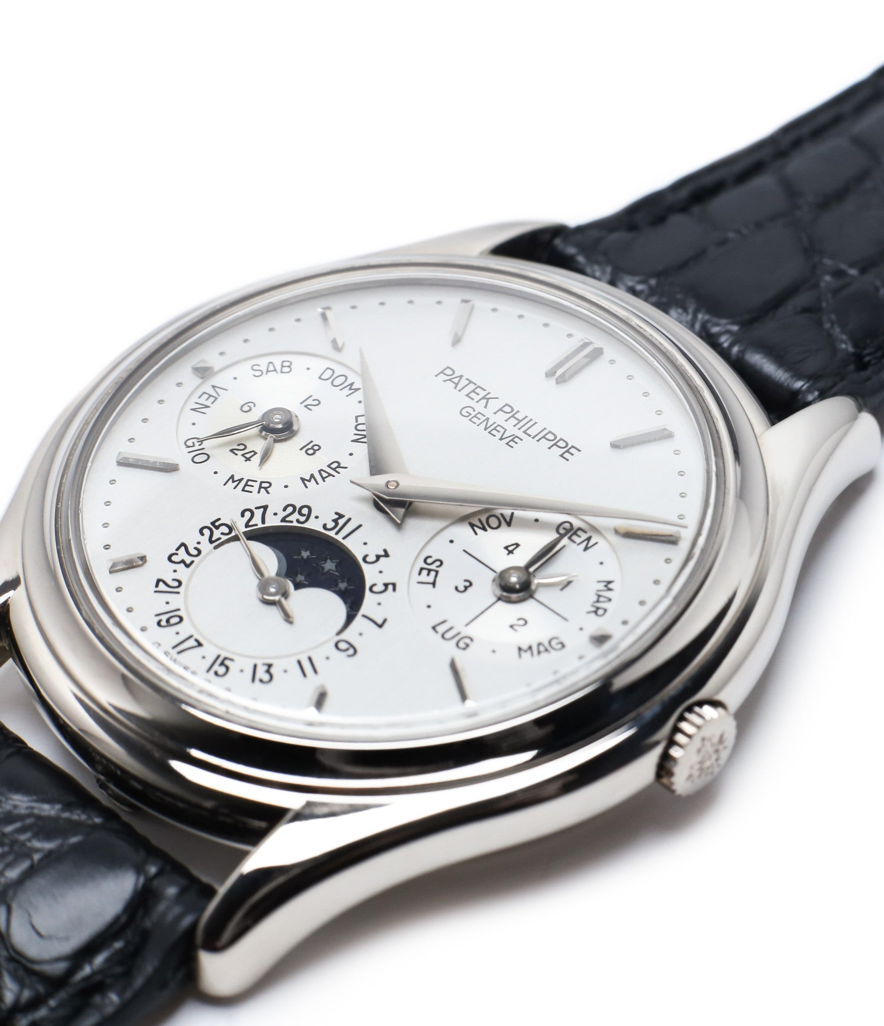 slim case buy rare Patek Philippe Perpetual Calendar 3940G moonphase white gold watch full set at A Collected Man