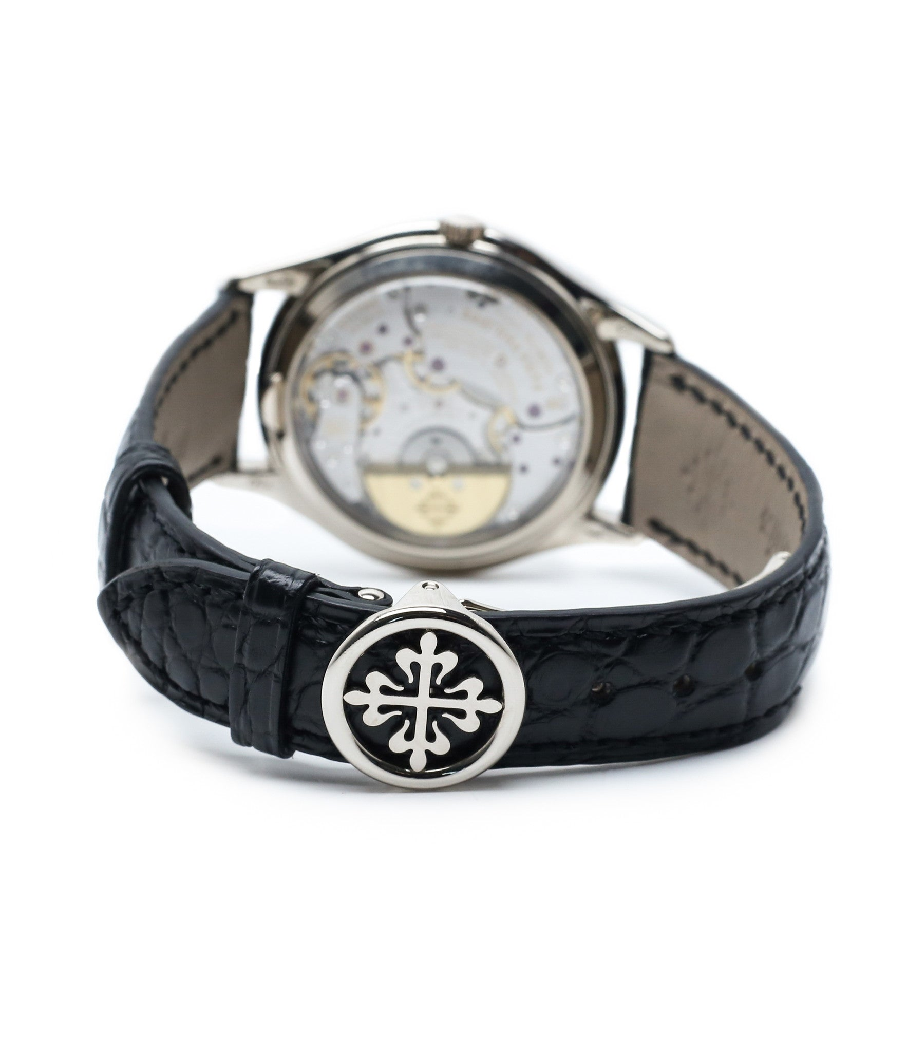 deployant buckle buy rare Patek Philippe Perpetual Calendar 3940G moonphase white gold watch full set at A Collected Man