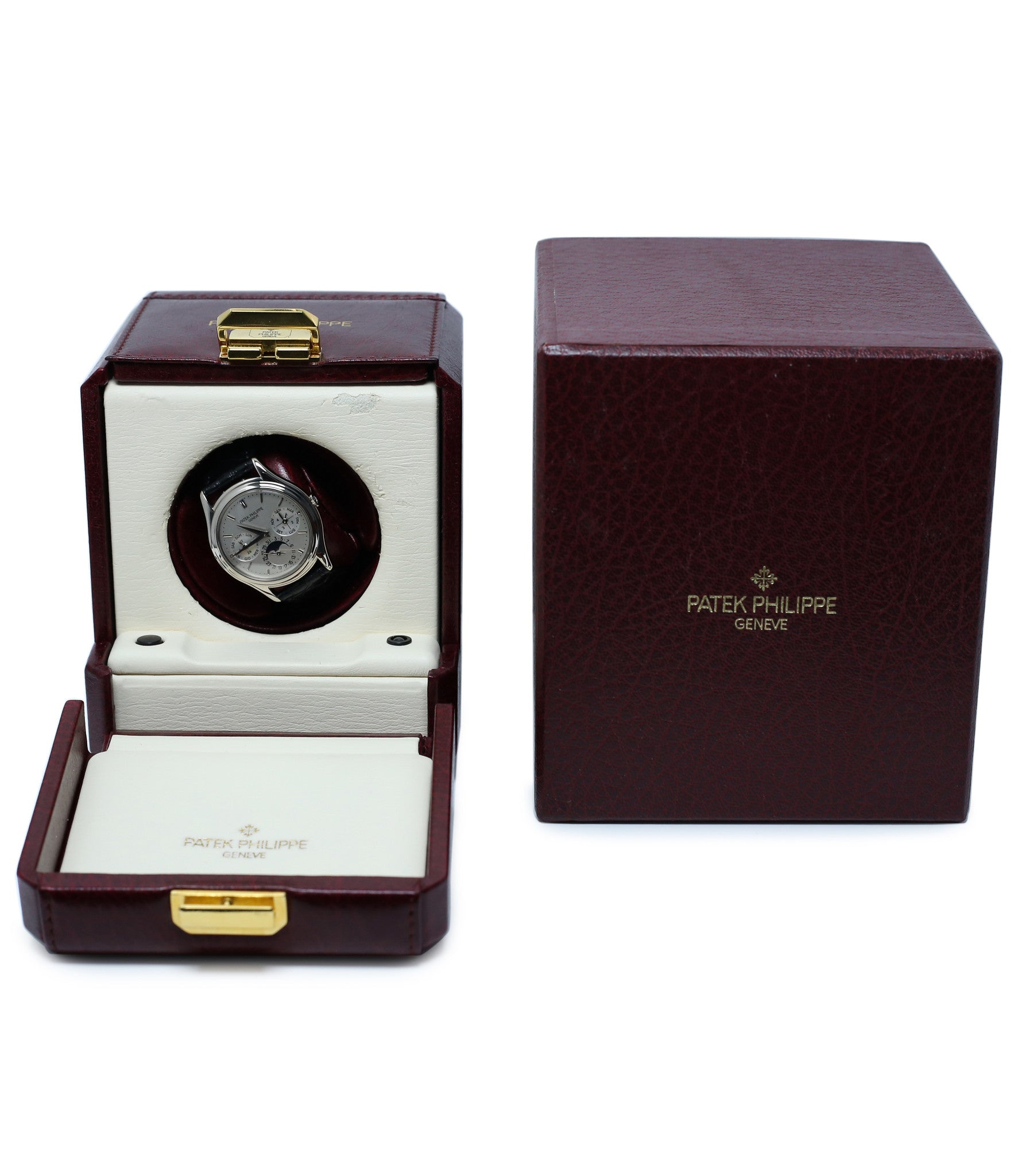 watch winder buy rare Patek Philippe Perpetual Calendar 3940G moonphase white gold watch full set at A Collected Man