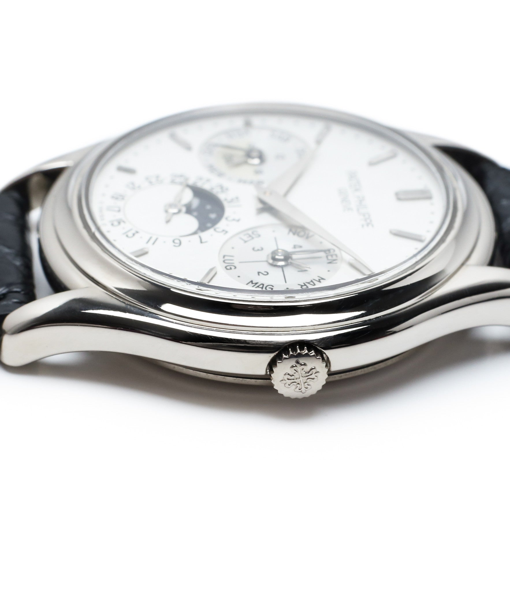 crown slim case buy rare Patek Philippe Perpetual Calendar 3940G moonphase white gold watch full set at A Collected Man