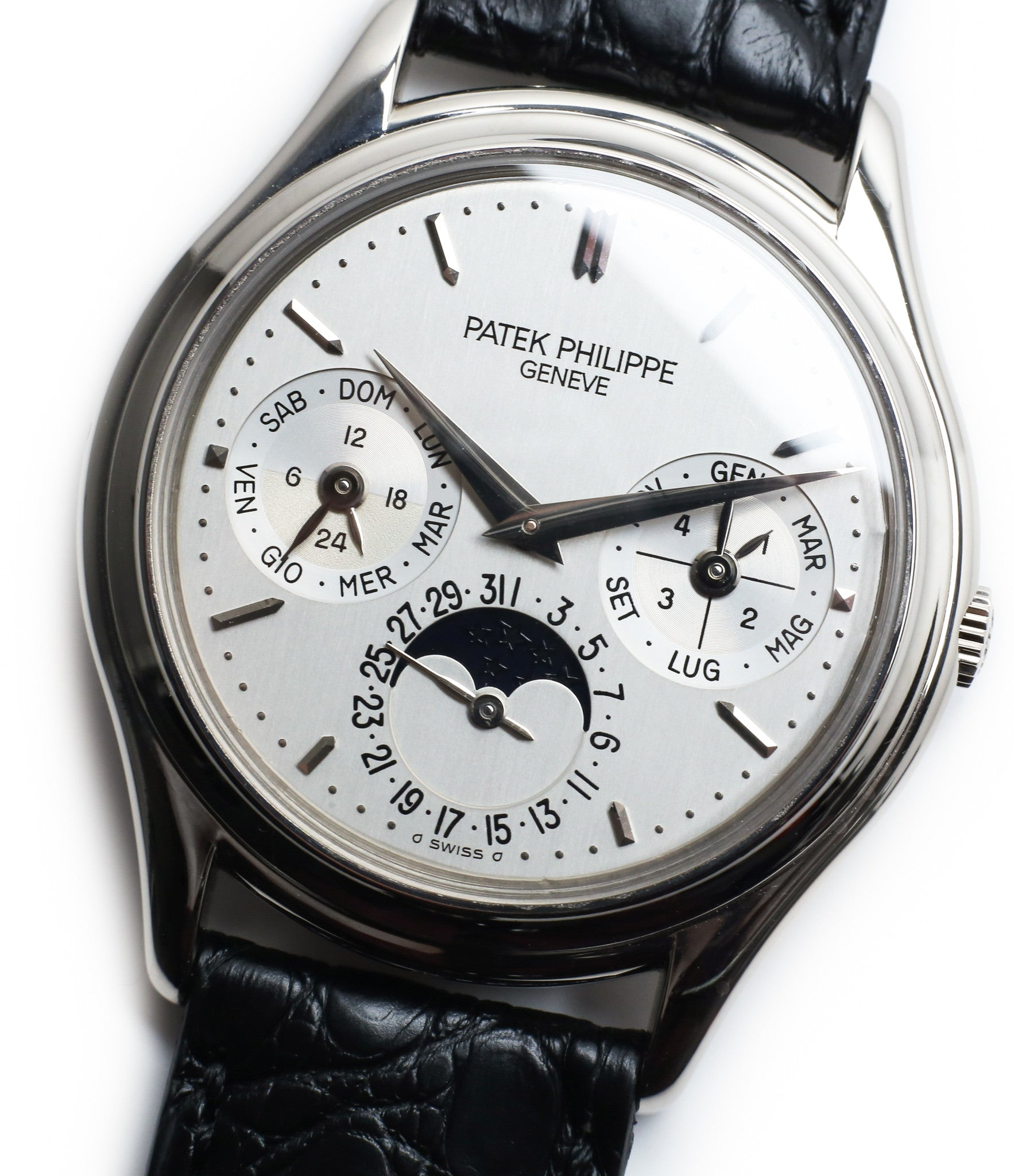 silver dial buy rare Patek Philippe Perpetual Calendar 3940G moonphase white gold watch full set at A Collected Man