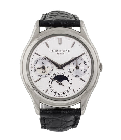 buy rare Patek Philippe Perpetual Calendar 3940G moonphase white gold watch full set at A Collected Man