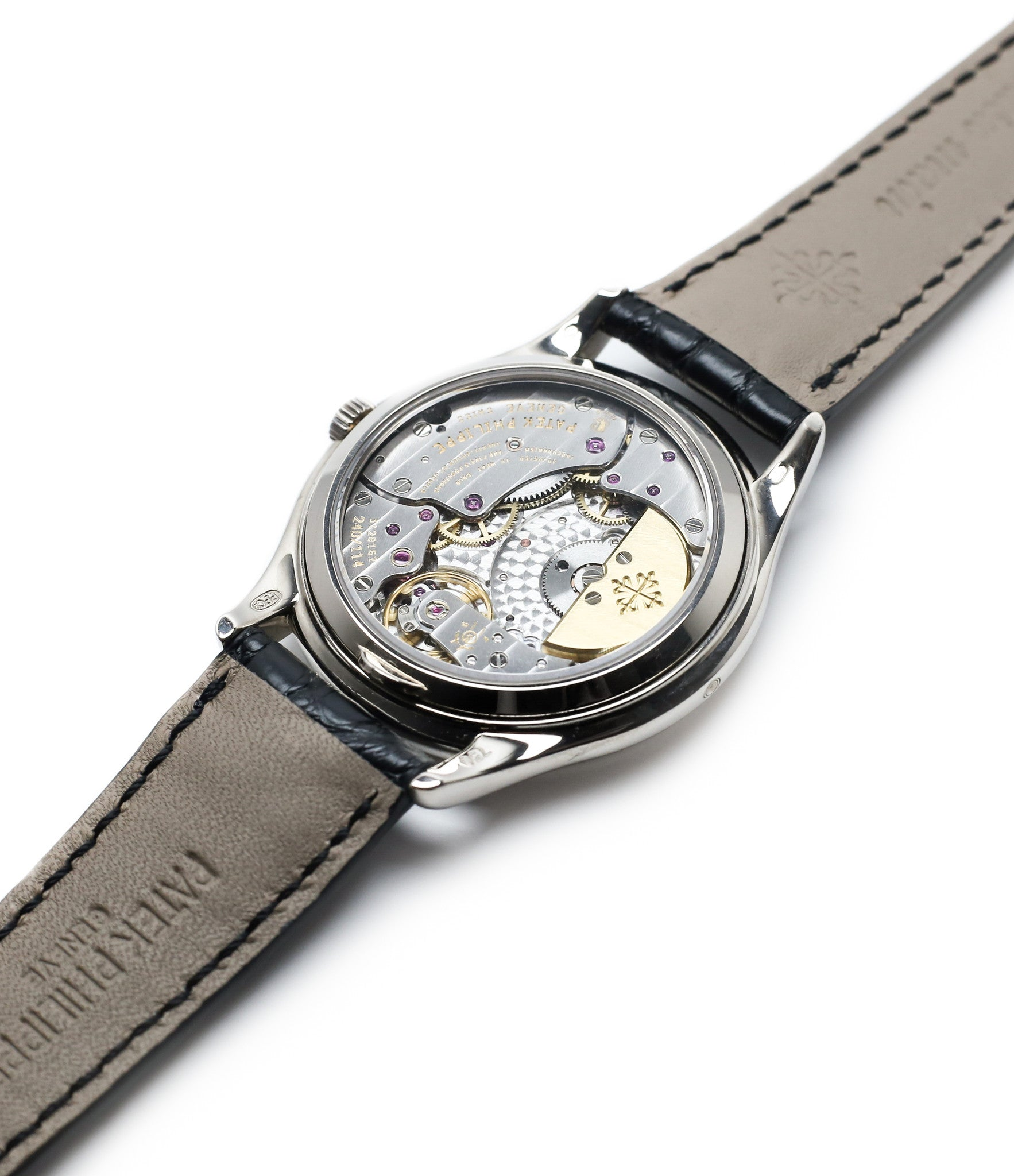 display back movement Patek Philippe Perpetual Calendar 3940G moonphase white gold watch full set at A Collected Man
