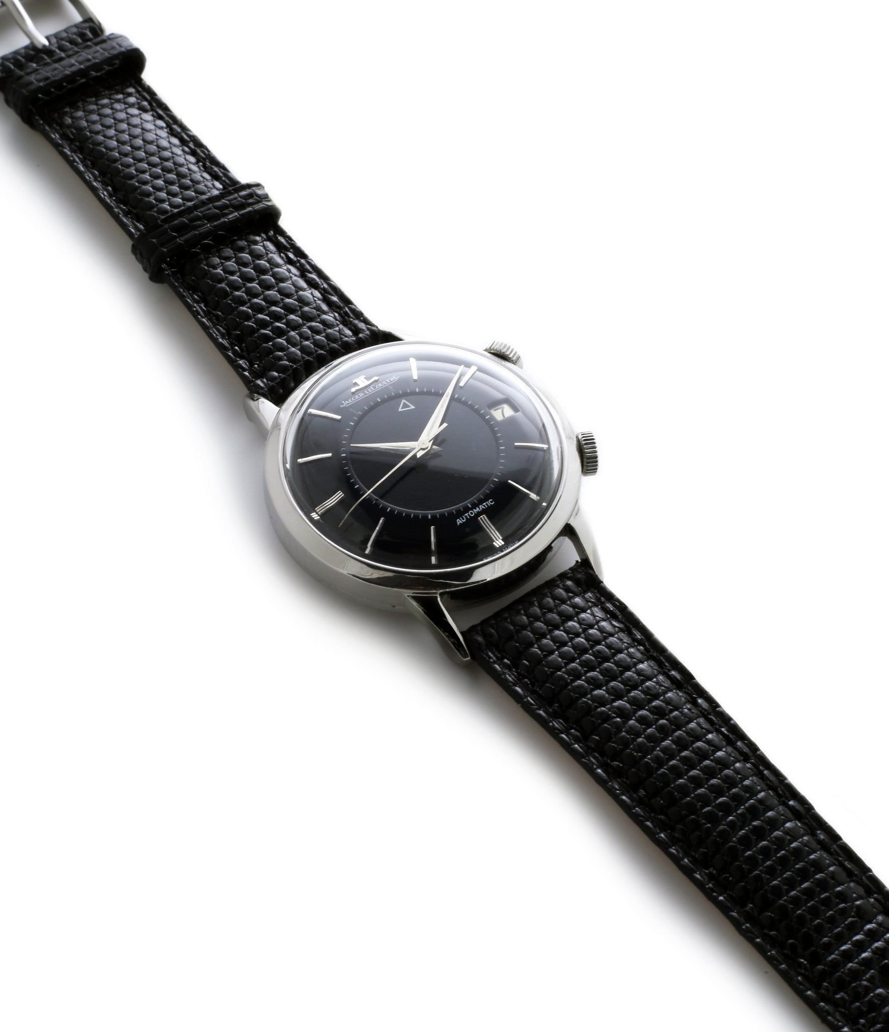buy vintage Jaeger-LeCoultre Memovox steel time-only dress watch automatic Cal. 825 bumper movement unrestored black dial for sale from WATCH XCHANGE London fully serviced with authenticity guaranteed