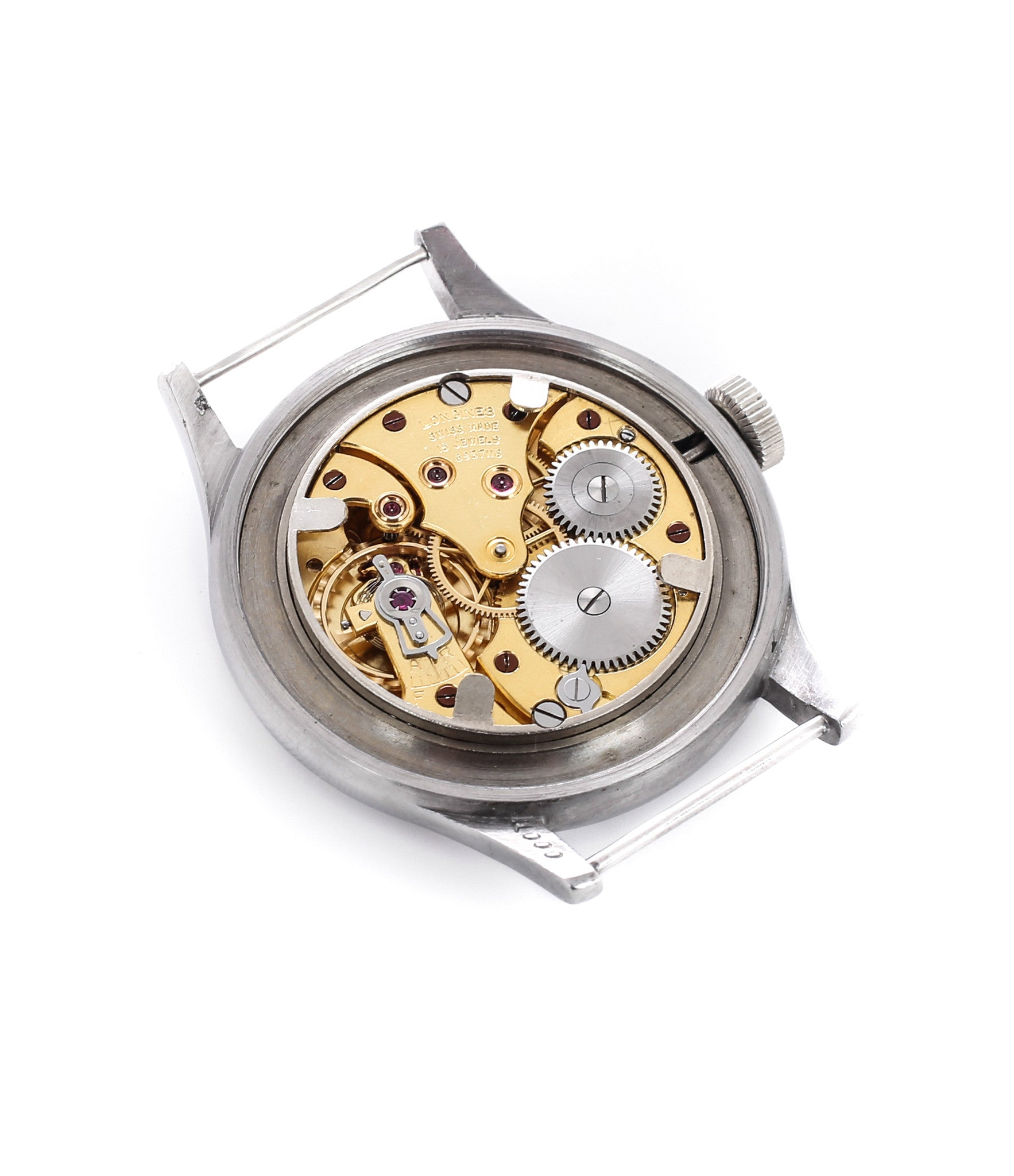 manual-winding Longgines movement inbuy vintage Longines W.W.W. Dirty Dozen British MoD-issued military watch F 4724 steel chronometer-graded watch for sale online WATCH XCHANGE London with authenticity guaranteed