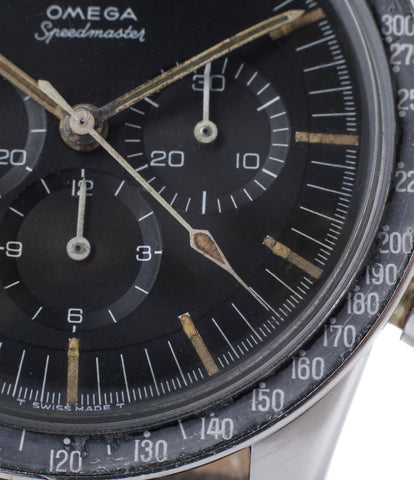 tachymeter scale buy vintage Omega Speedmaster Pre-Professional Ed White ST 105.003 steel manual-winding chronograph watch black dial at WATCH XCHANGE LONDON
