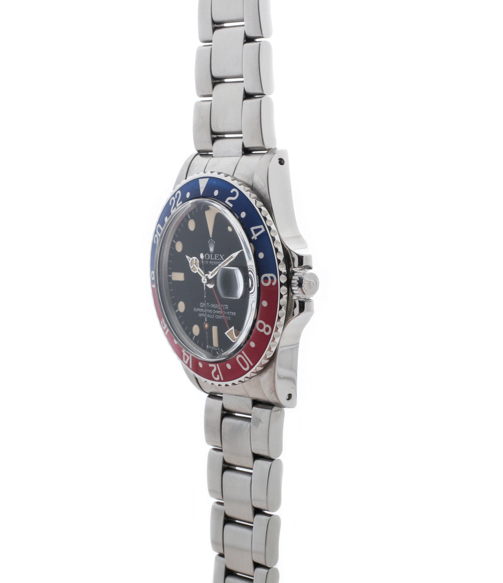 buy vintage Rolex GMT master 1675 steel watch Pepsi bezel rare full set chronometer for sale from online WATCH XCHANGE London