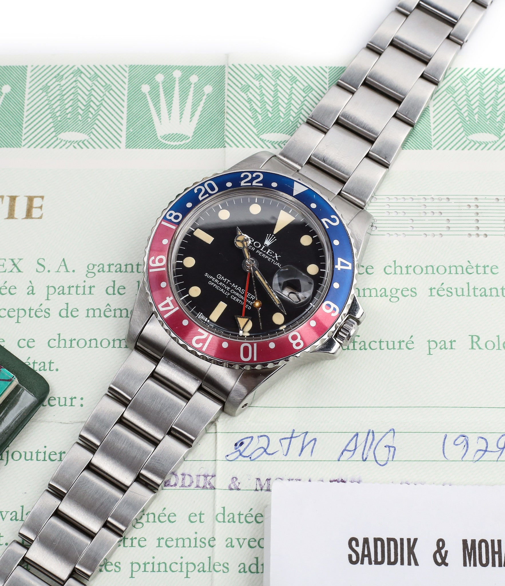 full set vintage Rolex GMT master 1675 steel watch Pepsi bezel rare full set chronometer for sale from online WATCH XCHANGE London
