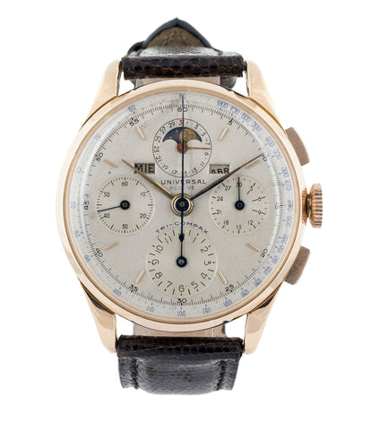buy vintage Universal Geneve Tri-Compax Ref. 12552 triple calendar moonphase rose gold watch at A Collected Man