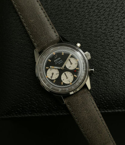 unrestored dial buy vintage Enicar Sherpha Chronograph 300 Ref. 1962 steel Valjoux 72 manual-winding rare racing watch at WATCH XCHNAGE London with tacyhmeter scale