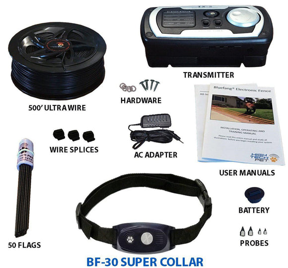 High Tech Pet Bluefang X-30 5-in-1 Remote Training and Electric Dog Fence Collar - Pet Pro Supply Co.