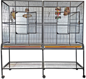 Aviary - A&E Double Flight Cage With Divider - Pet Pro Supply Co