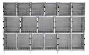 Cage Banks - Shor-Line Stainless Steel 12' Cage Assembly - Model B - Pet Pro Supply Co