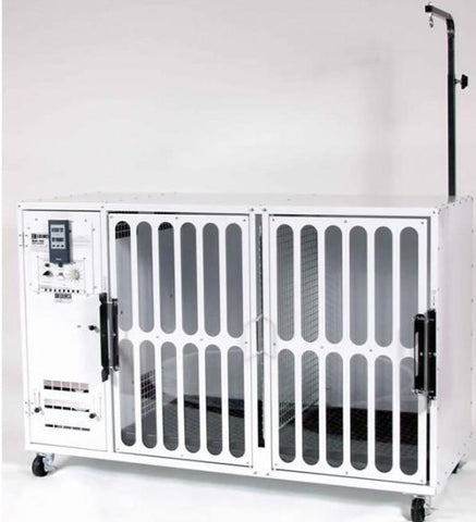Edemco F500 Double Dog Dryer Cage with Floor Grill and Grooming Arm