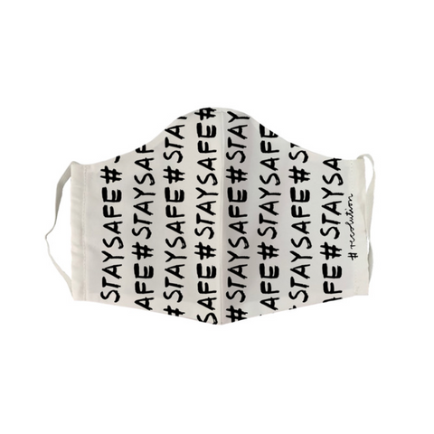 "Face Mask ""Stay Safe"" I black/white"