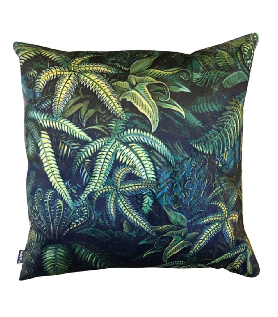 "Kissen ""Palm Forrest"" I dark green"