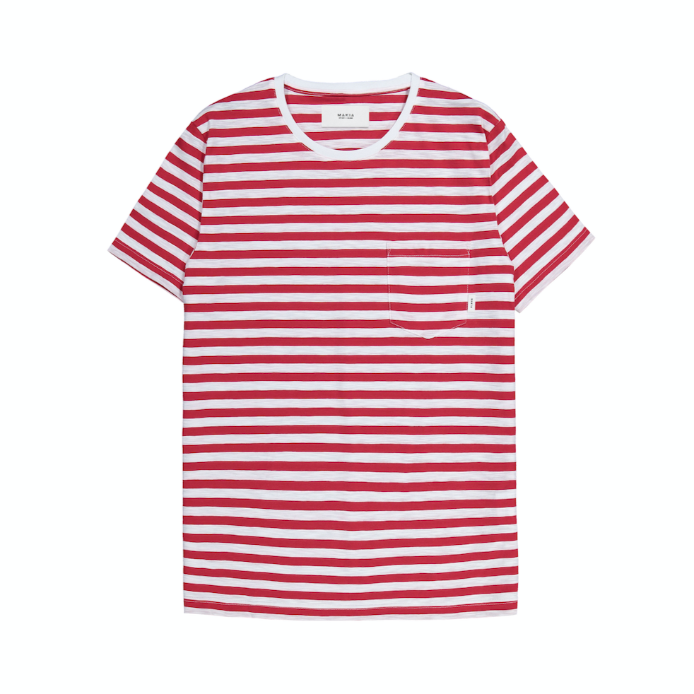 "T-Shirt ""Verkstad"" I red striped"
