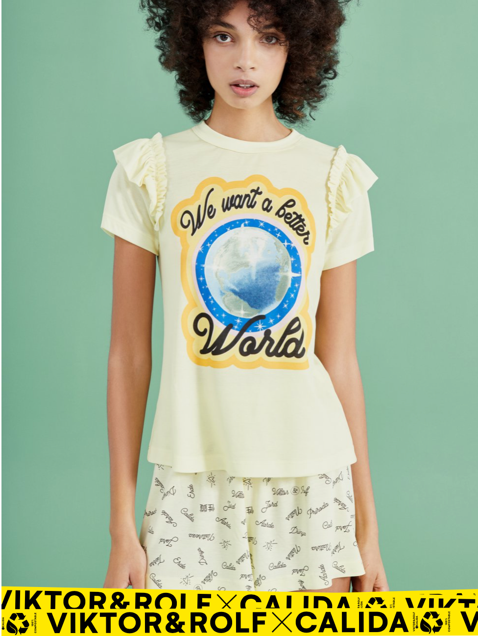 "Shorts ""We want a better World"" I honey yellow"