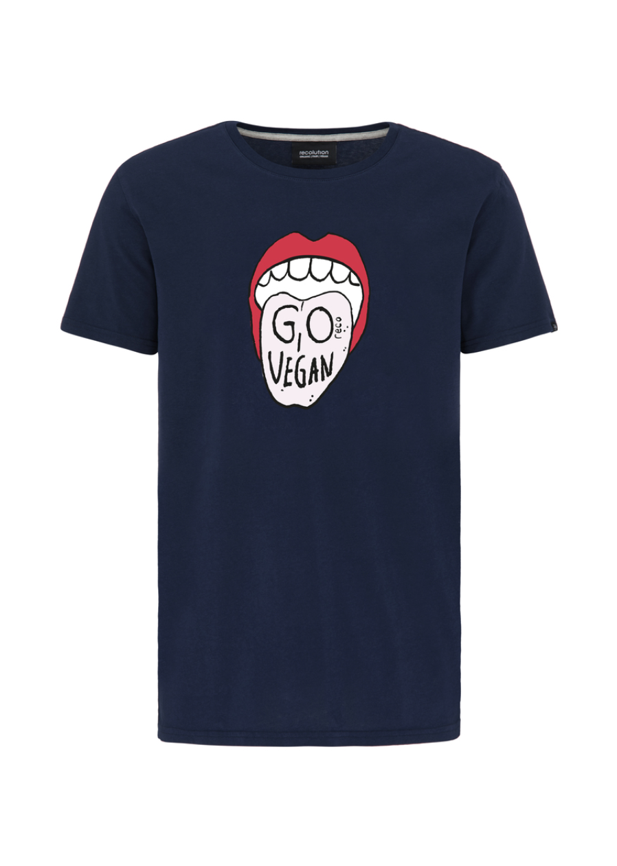 "T-Shirt ""Go Vegan"" I navy"
