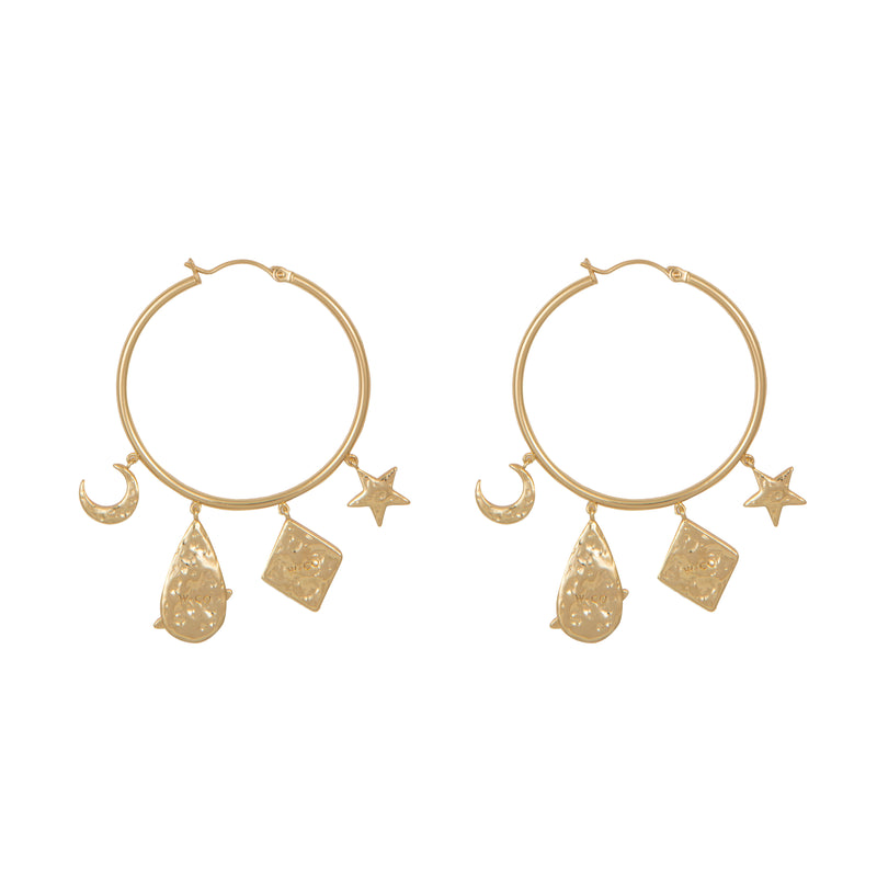 "Wild at Heart ""Astra Hoop Earrings"" I gold"