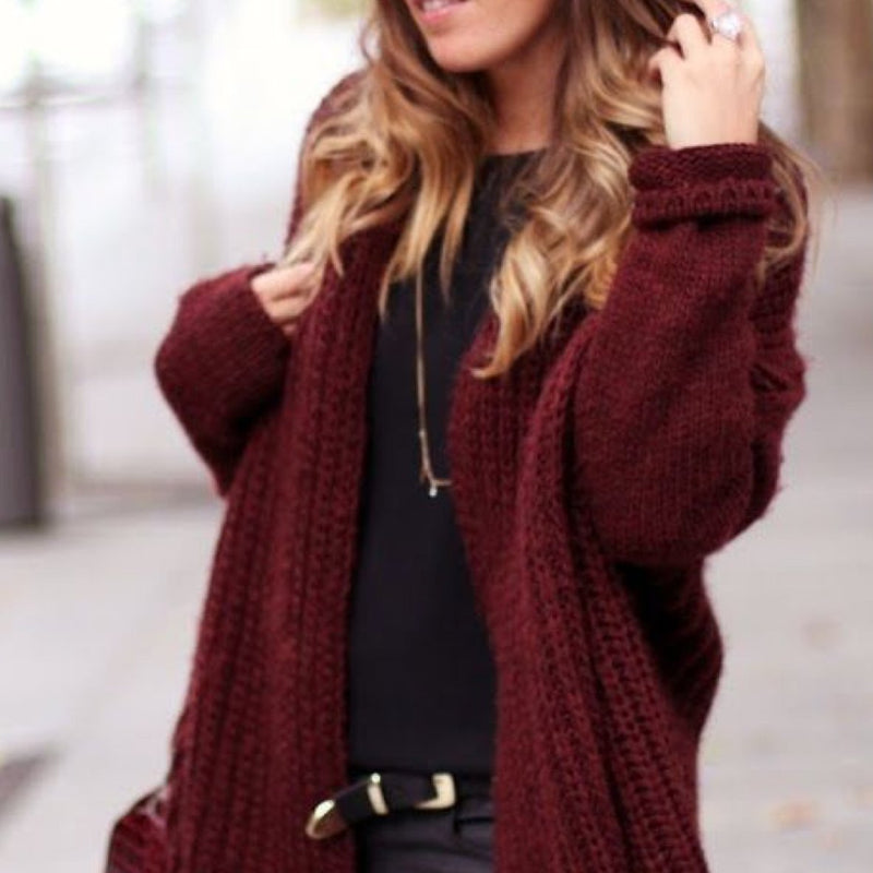 "Strickjacke ""Loua Short"" I burgundy"