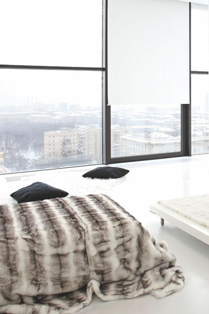 Fake Fur Decke | grau