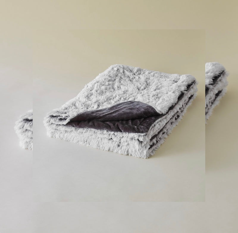 Fake Fur Decke | snow grey