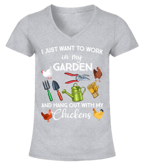 "T-Shirt ""Chicken and Garden"" I grey"
