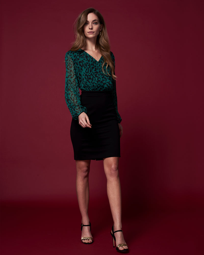 Kleid Milena I green-black leopard