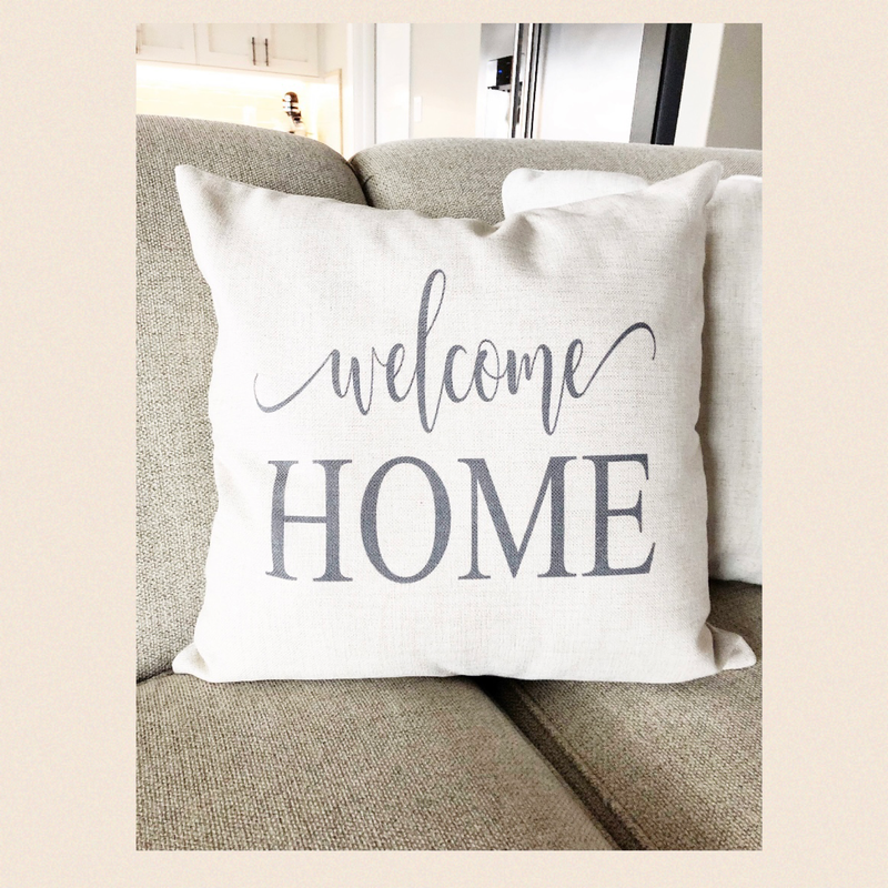 "Kissen ""Welcome Home"" I white"