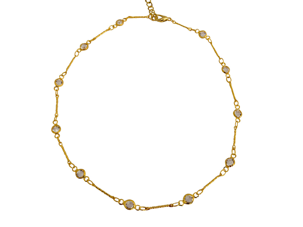 Brass cz bar Betty choker