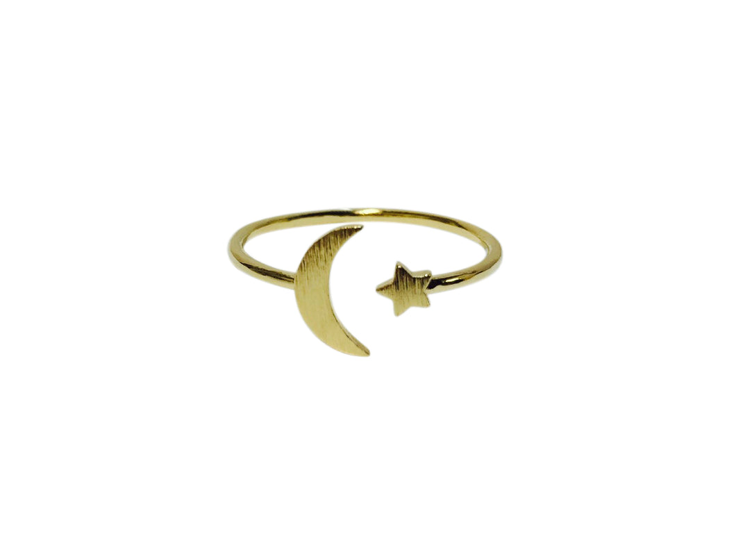 Plain moon star ring