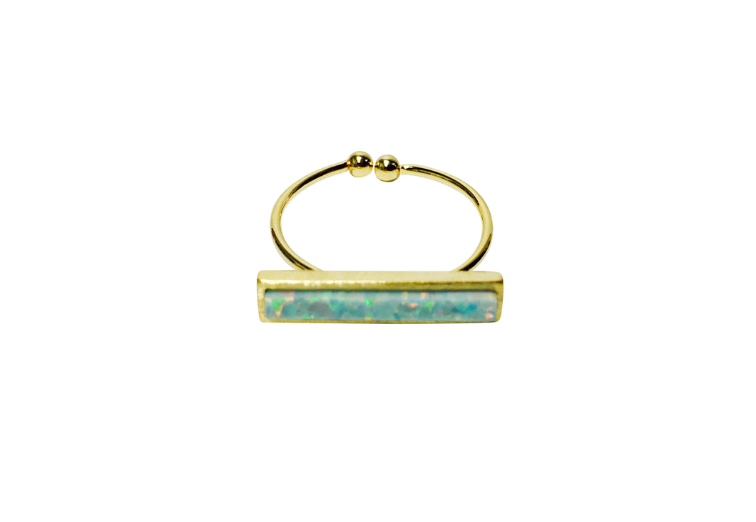 Mint Opal  bar ring