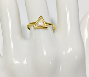 Opal triangle ring