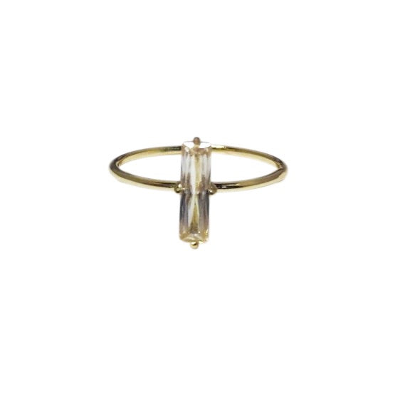Cz Baguette bar ring