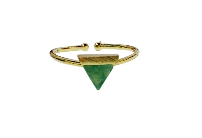 Jade triangle ring