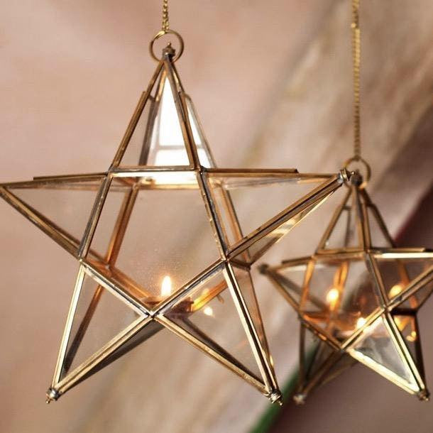 Festive Brass Tealight Lanterns
