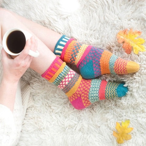 Saffron Mismatched Knitted Socks
