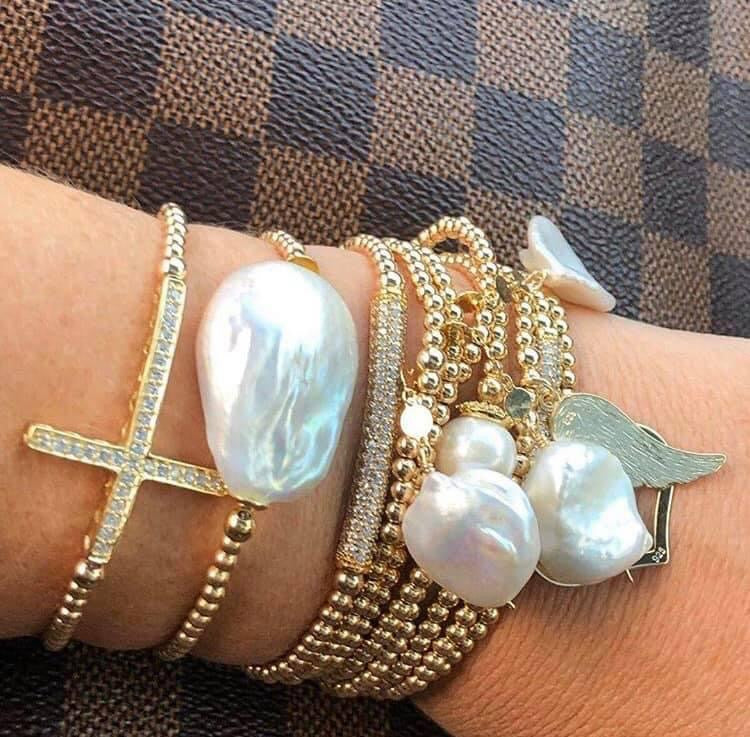 Gold Keshi Pearl Stretch Bracelet