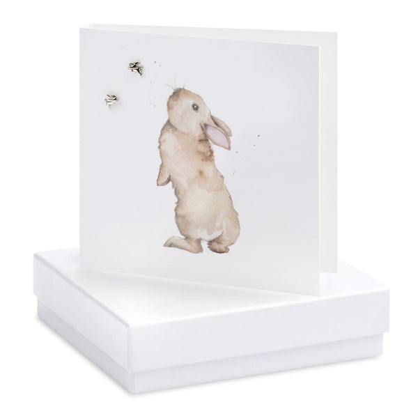 Boxed Bertie Bunny Silver Earring Card