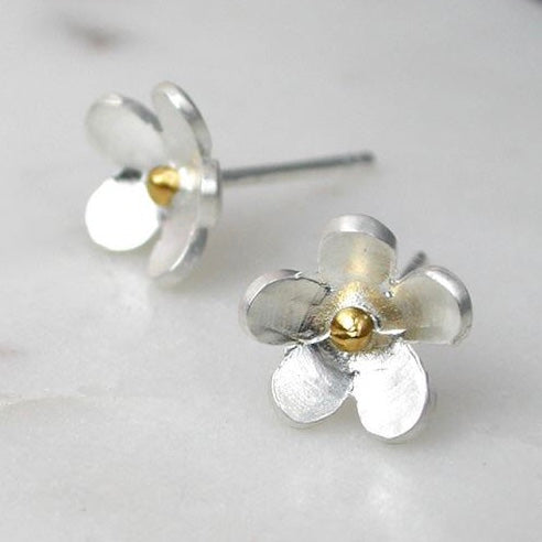 Sterling Silver Gold Plated Flower Stud Earrings