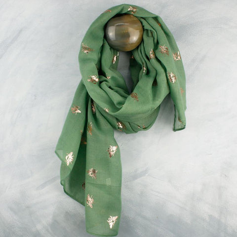 Green Moss & Metallic Rose Gold Tree Print Scarf