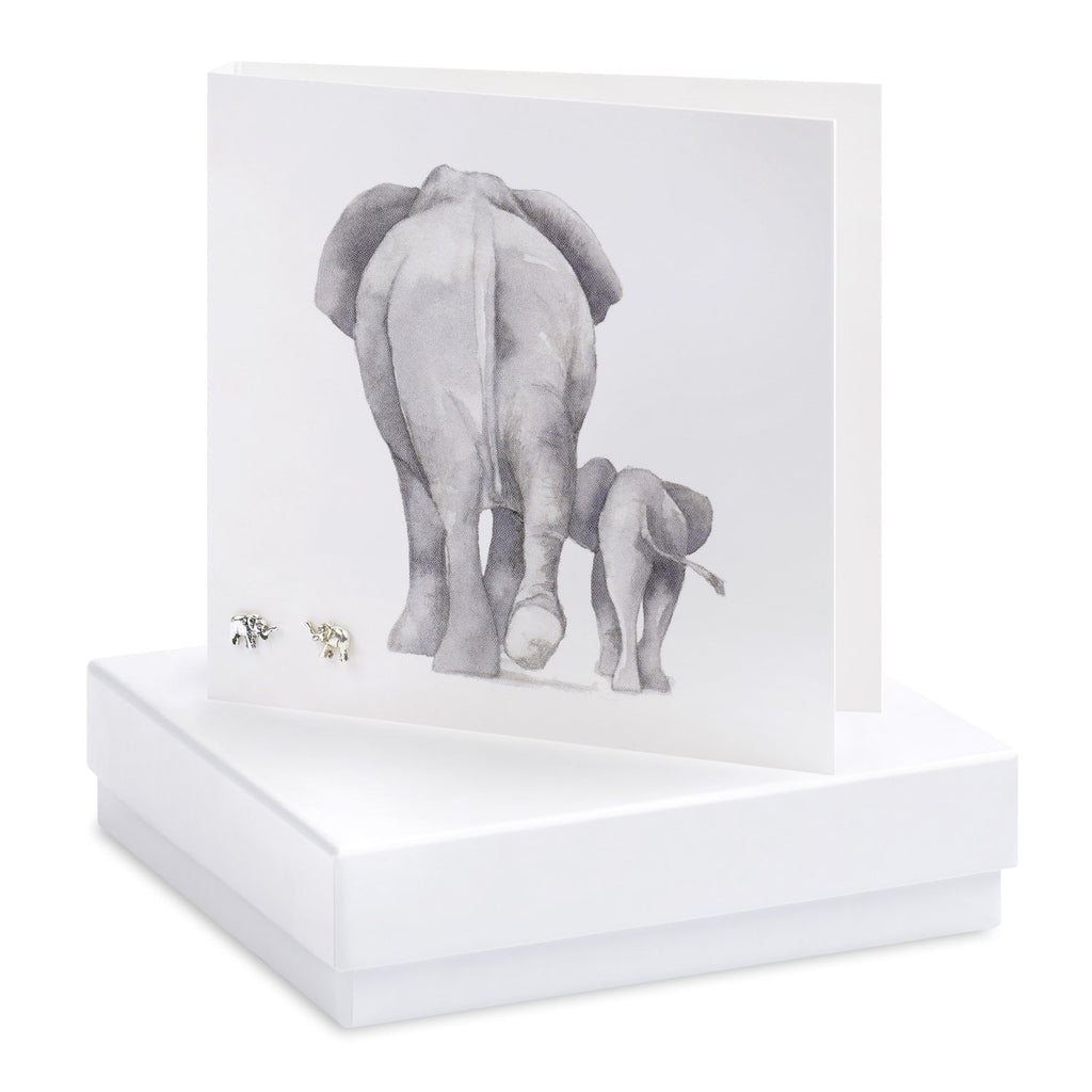 Boxed Elephant Silver Earring Card