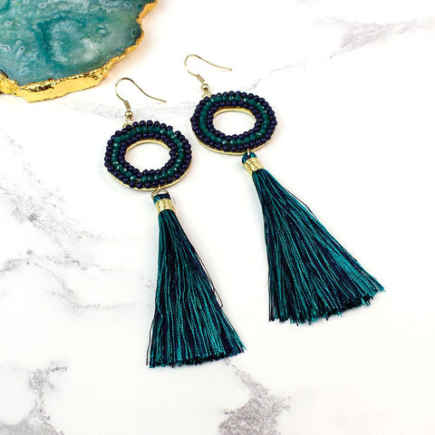 Petrol Bead Tassel Earrings