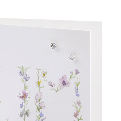 Boxed Mum Silver Earring Card