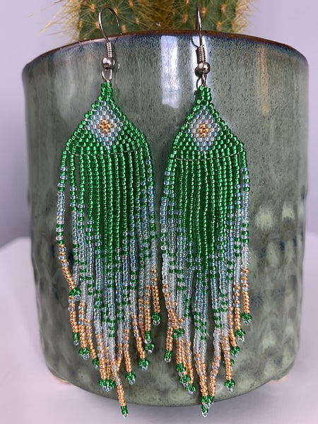 Grass Green Aqua & Gold Beaded Earrings