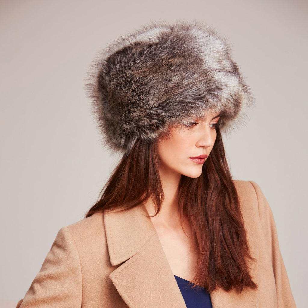 Truffle Faux Fur Pillbox Hat