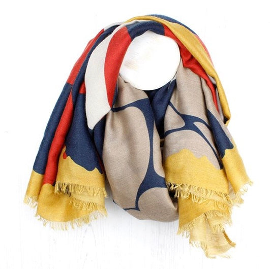 Mustard, Blue & Red Mix Graphic Print Scarf